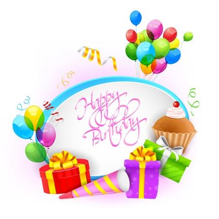 invito compleanno: illustrazione di buon compleanno sfondo Vettoriali