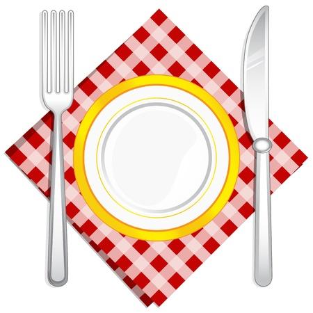 illustratie van de vork en lepel met plaat gehouden op servet op geïsoleerde witte achtergrond Stock Illustratie