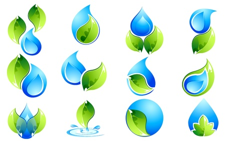 drops of water: illustration of set of water and leaves icon on isolated background
