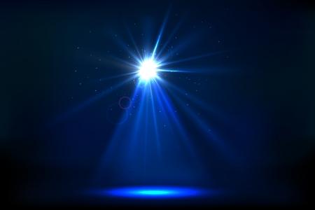 luz focal: ilustraci�n de la etapa para el rendimiento con la luz del punto