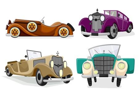 roadster: illustration of vintage car on white background