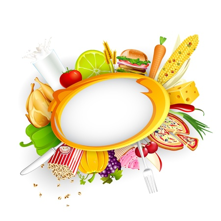 gourmet meal: illustration of food item with fruit and vegetable