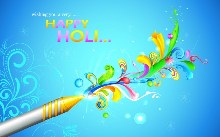 rang: illustration of colorful floral swirl around Holi pichkari Illustration