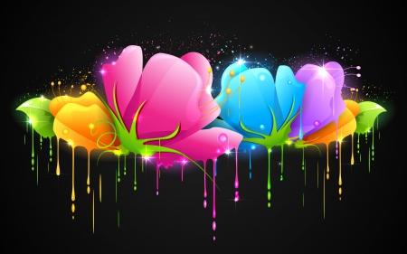 Illustration der Farbe tropft von bunten Blumen