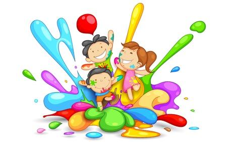 hinduismo: ilustra??o de crian?as brincando Holi com cor e pichkari
