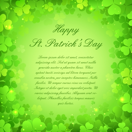 saint patrick��s day: illustration of Saint Patrick s Day Background with clover leaf Illustration