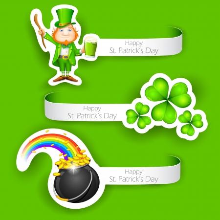 saint patrick��s day: illustration of set of Saint Patrick s Day Label