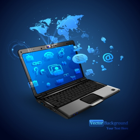 computer screen: illustration of application coming out of laptop on abstract background