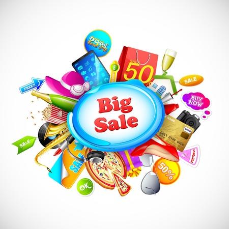 illustratie van winkelen object voor grote verkoop