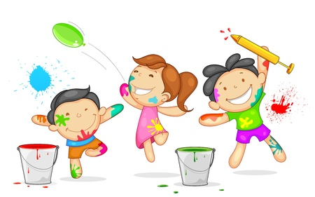 illustration of kids playing holi with color and pichkari Vector