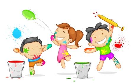 ni�as jugando: Ilustraci�n de ni�os jugando Holi con el color y pichkari