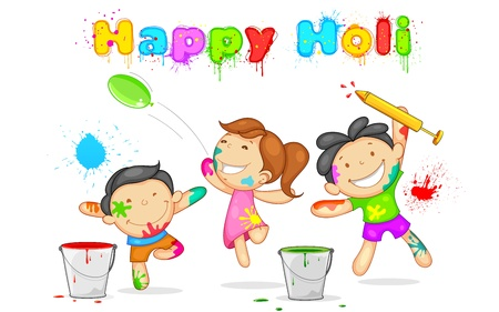 illustration of kids playing holi with color and pichkari Stock Vector - 18434834