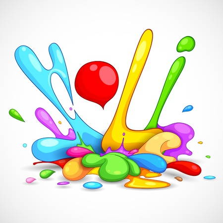 hinduism: illustration of colorful color splash in Holi background Illustration