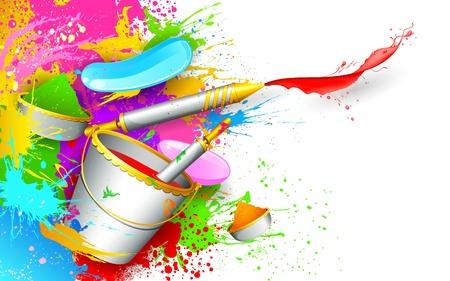 illustratie van kleurrijke spalsh met emmer vol kleur en pichkari in Holi achtergrond
