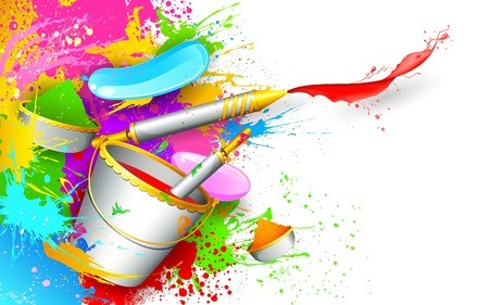 dhulandi: illustration of colorful spalsh with bucket full of color and pichkari in Holi background