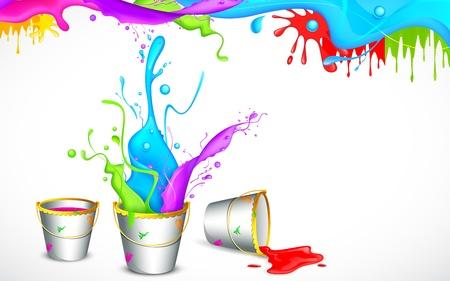 emmer water: illustratie van emmer vol van kleur in Holi achtergrond