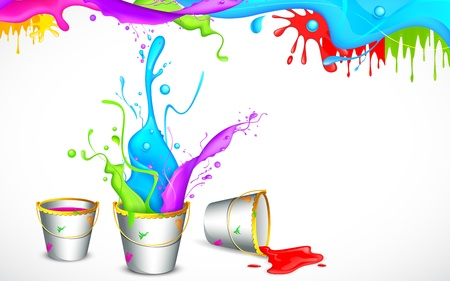 colorful holi: illustration of bucket full of color in Holi background Illustration