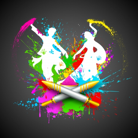 colorful holi: illustration of couple playing Holi with color and pichkari