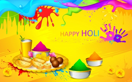 toran: illustration of happy Holi wallpaper with colors and sweet