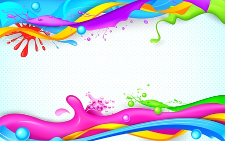 illustration of colorful splash in Holi wallpaper Vector