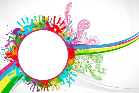 fun festival: illustration of holi background with hand print and colorful splash