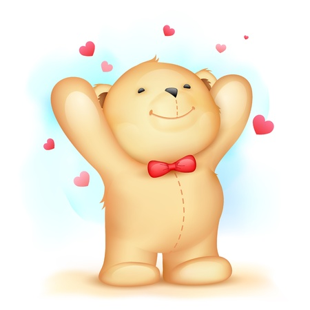 illustration of cute teddy bear on love background