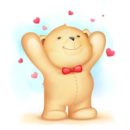 ositos bear: ilustración del oso de peluche lindo en el fondo el amor