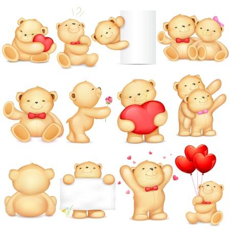 oso de peluche: ilustración del oso de peluche en pose diferente para el fondo amor