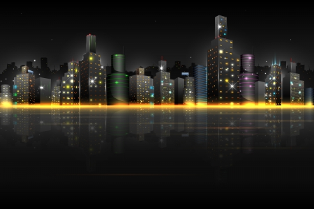 illustration of night scene of city with illuminated building