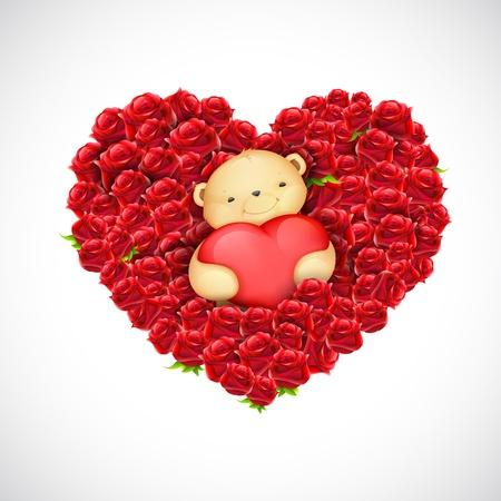 illustration of cute teddy bear couple holding heart Balloon