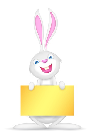illustration of Easter bunny holding blank board for putting message Stock Vector - 18465244