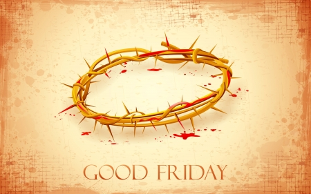 illustration of Crown of thorns with dripping blood on Good Friday Vector