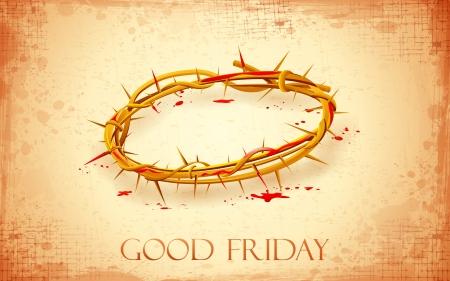 viernes santo: ilustración de la corona de espinas con sangre goteando en el Viernes Santo