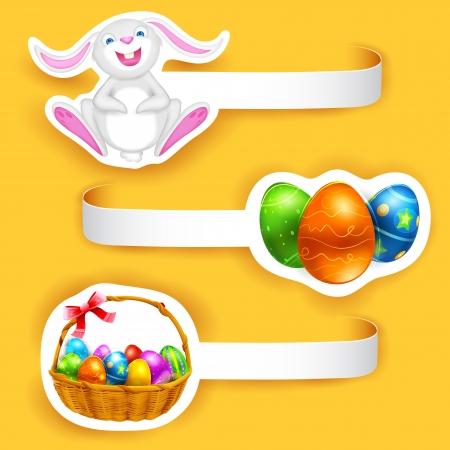 illustration of set of Happy Easter label with element Vector
