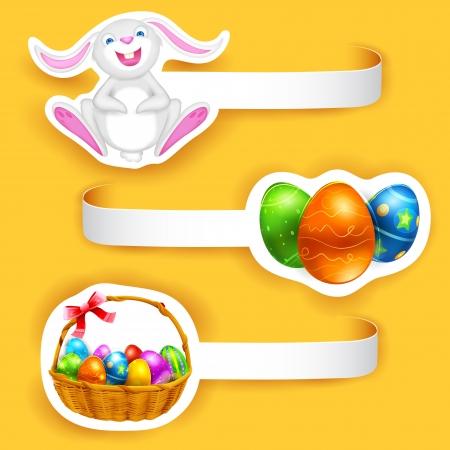 paper basket: illustration of set of Happy Easter label with element Illustration