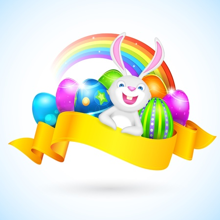 illustration of colorful Easter egg with bunny and ribbon Vector