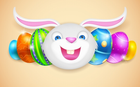 illustration of happy bunny with colorful Easter egg Vector