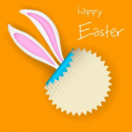 bunny ears: ilustraci�n de la etiqueta engomada con orejas de conejo de Pascua