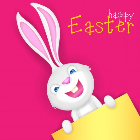 illustration of Easter bunny holding blank board for putting message Vector