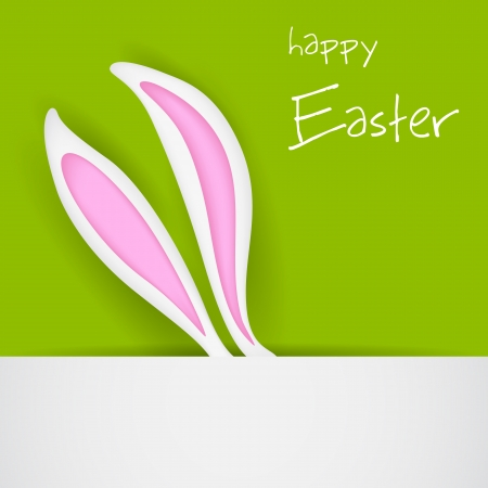 easter and rabbit: illustration of banner with Easter bunny ears Illustration