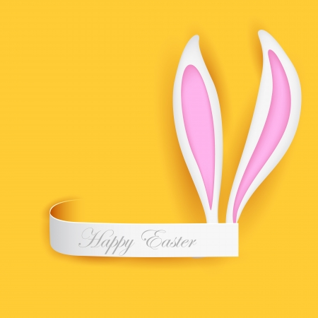 illustration of label with Easter bunny ears Stock Vector - 18495991