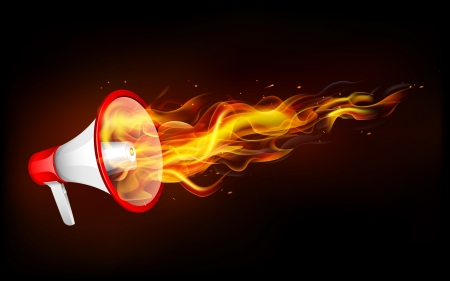 illustration of fire flame coming out of megaphone Stock Vector - 18674926