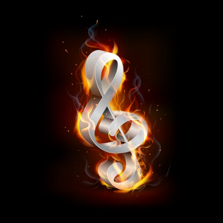 illustartion of fiery music note with flame Stock Vector - 18756037