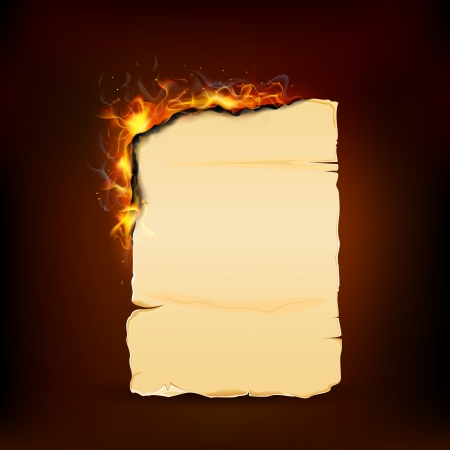 burning paper: illustration of burning piece of paper with copy space