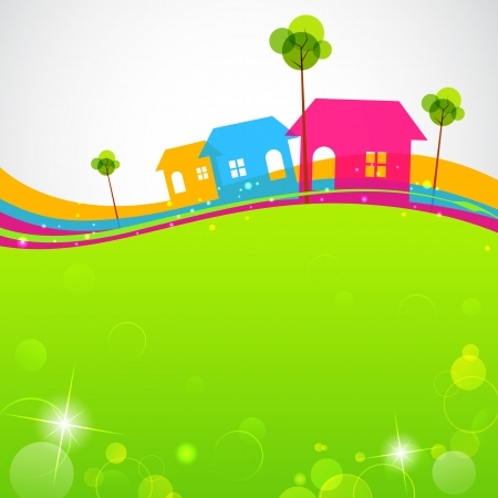 mortgage: illustration of colorful house with tree on grassland