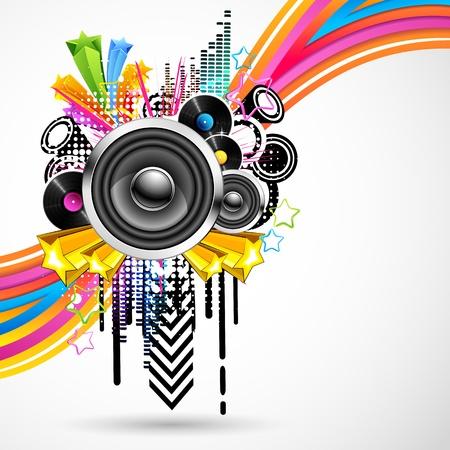 illustration de fond musical abstrait avec des remous colorés