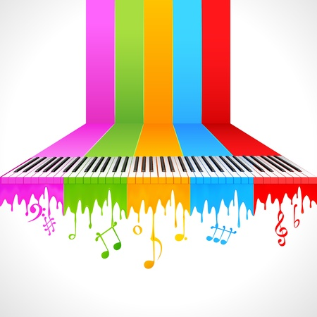 the symphony: illustration of piano key on rainbow color paint Illustration