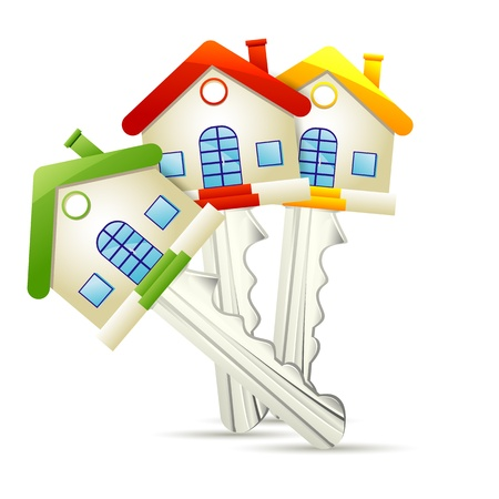 illustration of dream home key on white background Stock Illustration - 18756030