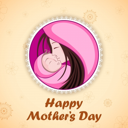 illustration of mother embracing child in Mother s Day Card Stock Vector - 18960263