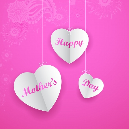 mothering: illustration of Happy Mother s Day on hanging heart